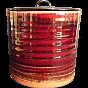 Beautiful Japanese Vintage Seto Ware Glazed Pottery Mizusashi or Canister by Famous Potter Toho Sato  東宝佐藤