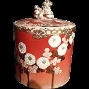 Japanese Antique Awata 粟田 Kyo-yaki 京焼き Kinkozan 錦光山 Stoneware Mizusashi or Cold Water Container Sunflowers with Shishi Lion Finial