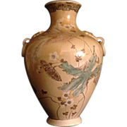 Japanese Antique Satsuma Cream and Flowers Large Vase