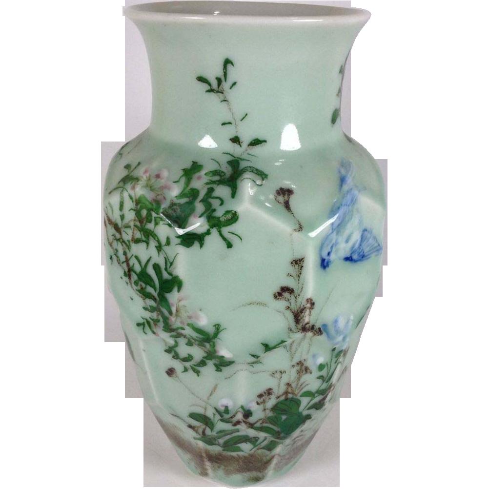 Japanese Vintage Celadon Beveled Cut Vase with Real Floral ...