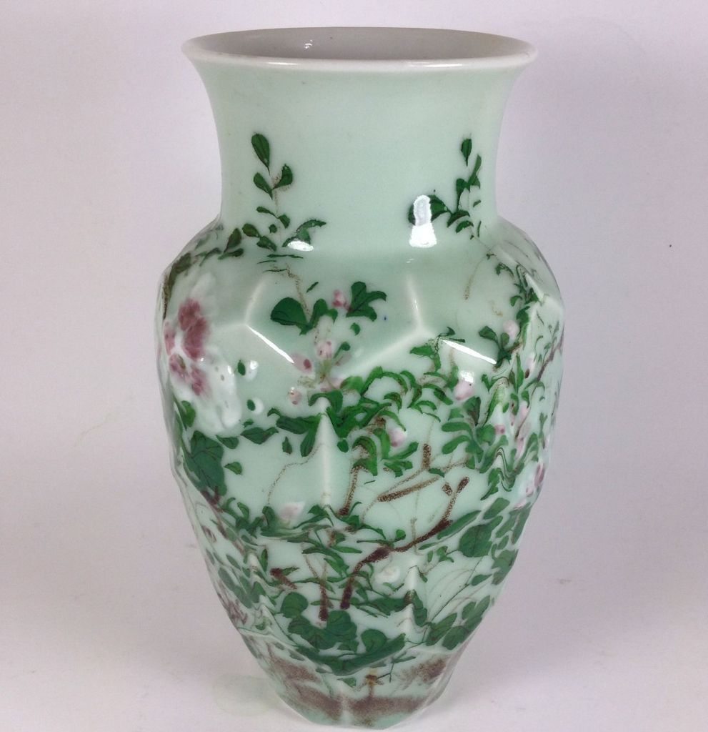 Japanese Vintage Celadon Beveled Cut Vase with Real Floral ...