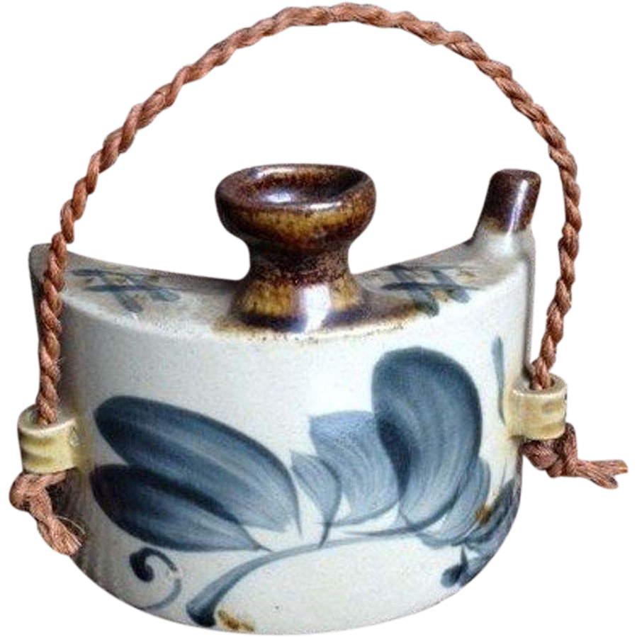 Japanese Vintage 壺屋焼き Tsuboya-yaki Pottery of a Sake Hip Flask
