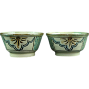 Japanese Vintage Okinawa Tsuboya Pottery Ware or  Tsuboya-yaki Pair of Sake Cups