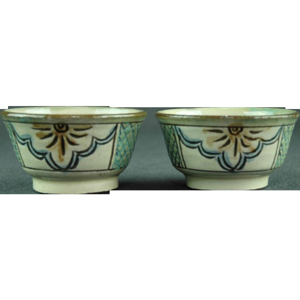 Japanese Rare Vintage Tsuboya Pottery Ware or  Tsuboya-yaki Pair of Sake Cups