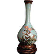 Very Fine Japanese Antique Shippo or Cloisonne Wireless Enameled Tsurukubi-hanaire Vase