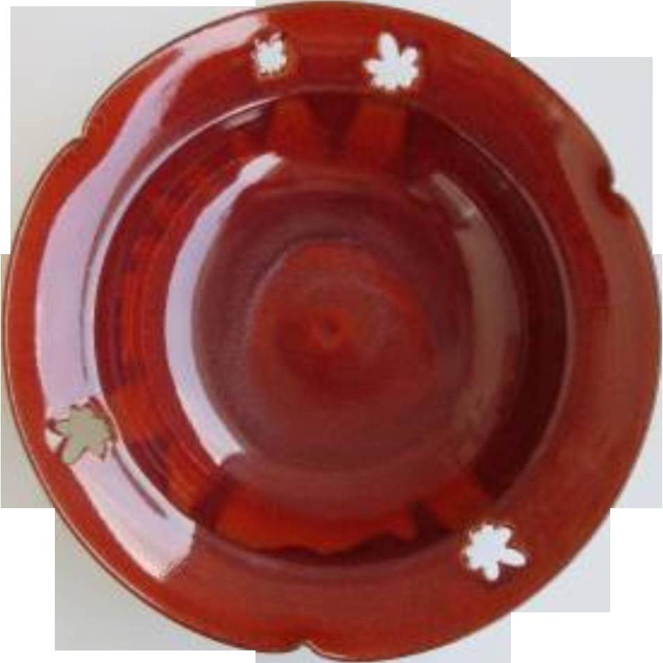 Japanese Kyoto Ware Pottery Bowl with Engraved Momiji famous Kamine kiln