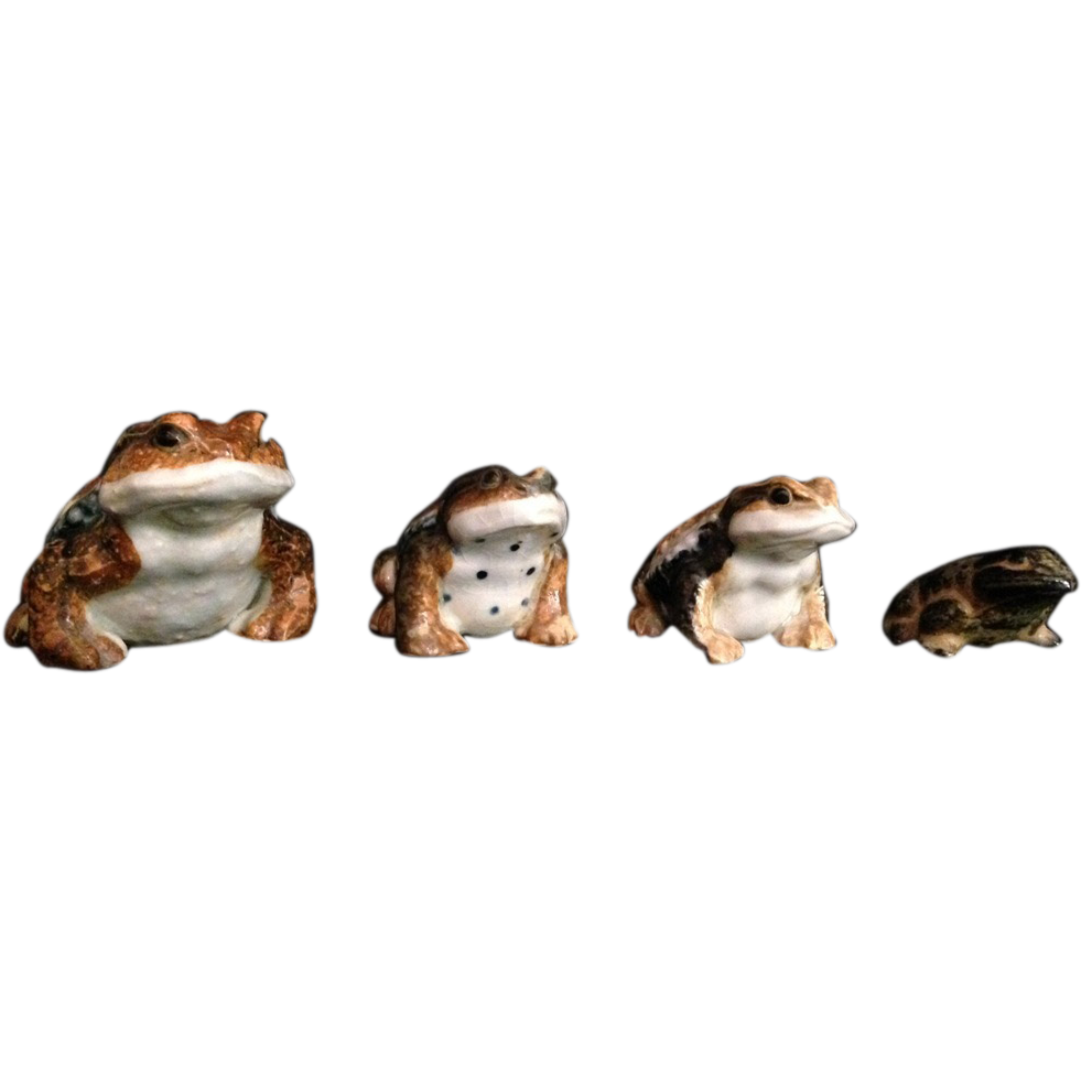 Japanese Vintage Hirado Porcelain Frogs, Frogs (B) and (C)