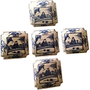 Japanese Antique Imari Set of Five Blue and White Porcelain Sauce Plates signed Dai nippon Hisashi 樂造