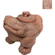A Chinese Vintage Unglazed Pottery Tea Pot of a Mythical Chen Chu 陈珠  or Three Legged Frog