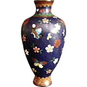 Japanese Antique Cloisonné Vase Flowers and Butterflies