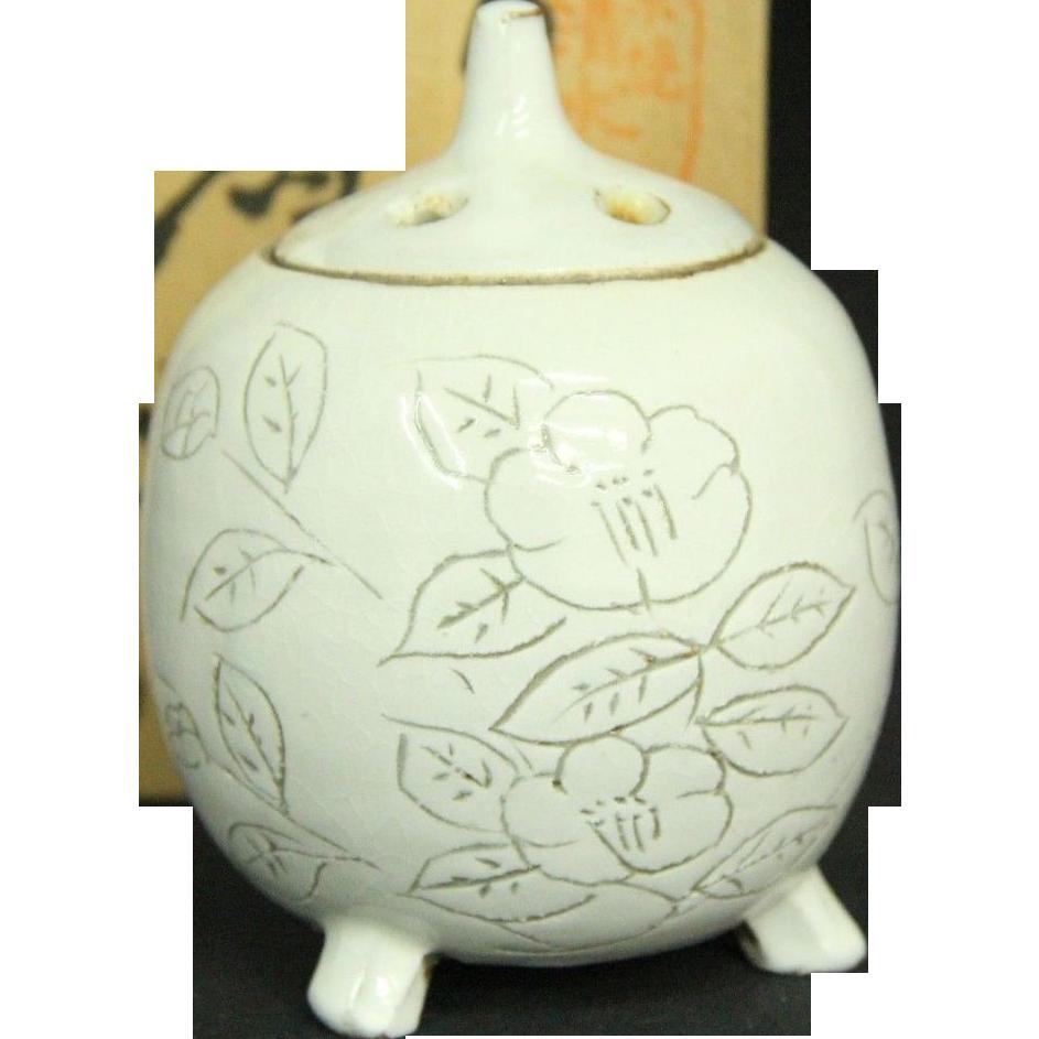 Japanese Vintage Kyoto Ware Porcelain Glazed Censer or Incense Burner Lovely Old Kyo ware Design