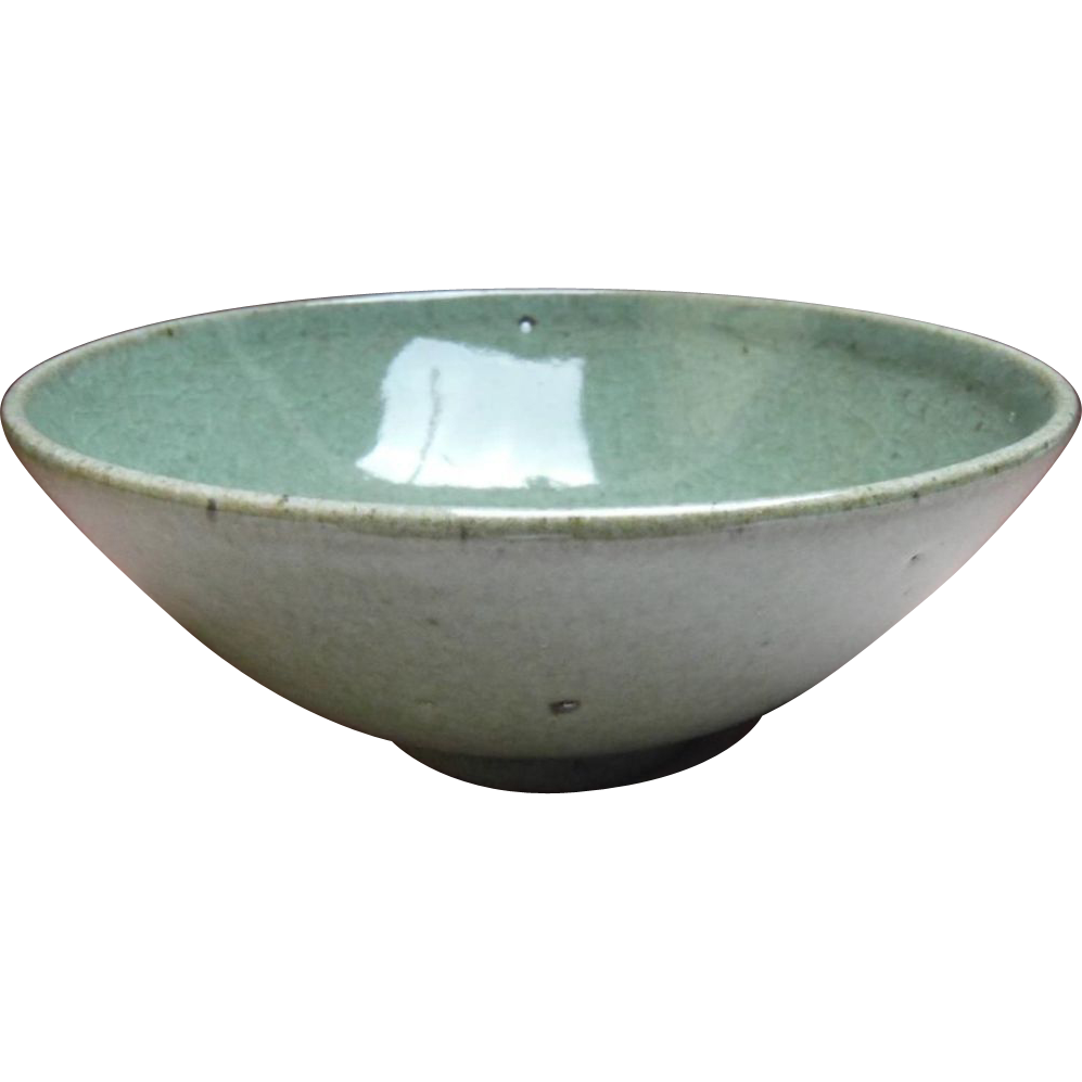 Japanese Vintage Celadon Glazed Tea Bowl by Chief Priest ...