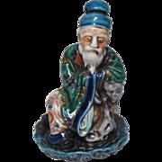 Japanese Antique Kutani 九谷焼 Okimono or Ornament, Statue of a Wise Man