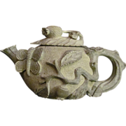 Chinese Vintage Small Pottery Tea pot Unfinished in Relief