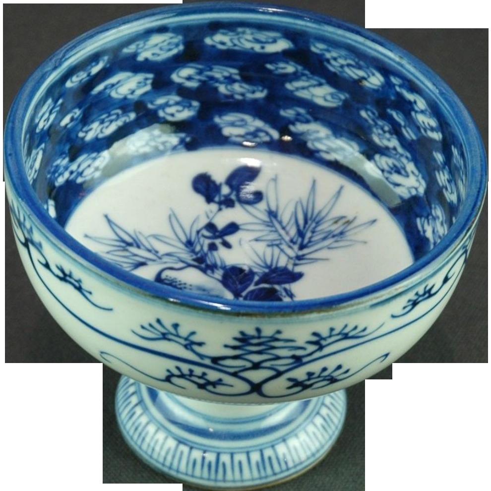 Japanese Antique 19th c Imari Chadōgu Pedestal Bowl for Tea Ceremony
