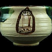 Japanese Vintage Oribe Ware 織部焼  Unusual Chawan or Tea bowl by Famous Potter Nobuaki Kato