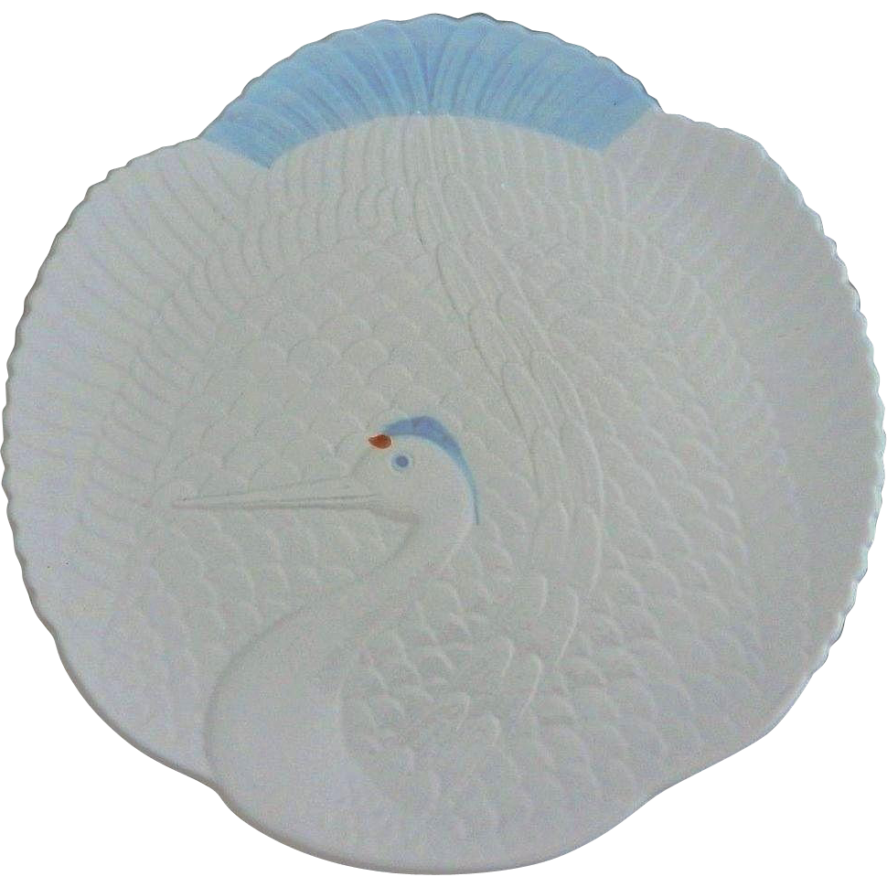 Japanese Contemporary Arita Porcelain Plate in Low Relief of a Tsuru or Crane