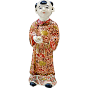 A Rare Japanese Antique Satsuma  Ceramic Ornament of Karako by the Very Famous Chin Jukan 縦貫