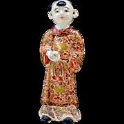 A Rare Japanese Antique Satsuma  Ceramic Ornament of Karako by the Very Famous Chin Jukan 縦貫