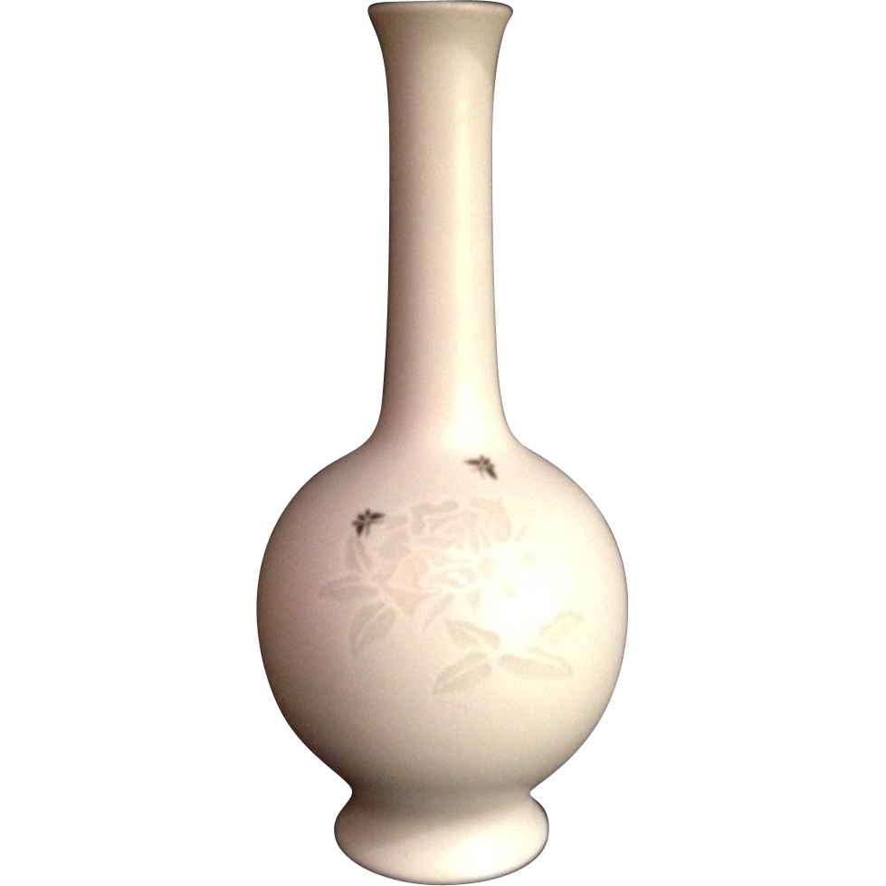 Japanese Vintage Izushi ware 出石焼 Black on White vase by Famous Potter Eishin Nagasawa