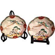Japanese Antique Colorful Imari 伊万里焼 Rokkaku-zara Porcelain Crane Plates, Each