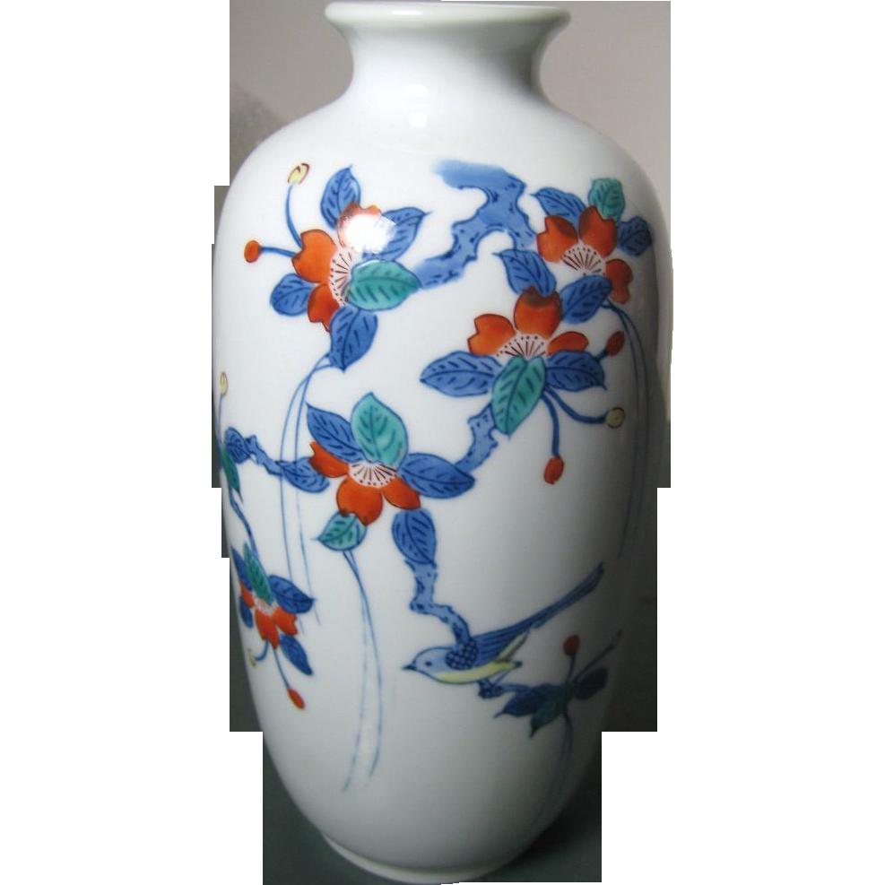 Japanese Vintage Arita Nabeshima Porcelain Vase of Sakura Branch