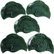 Japanese Kyoto Ware Porcelain Set of Five Crane (鶴 Tsuru) Low Relief Plates in Green Glaze