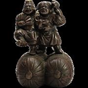 Japanese Antique 備前 Bizen-yaki pottery Okimono ornament or statue of  Hotei and Ebisu