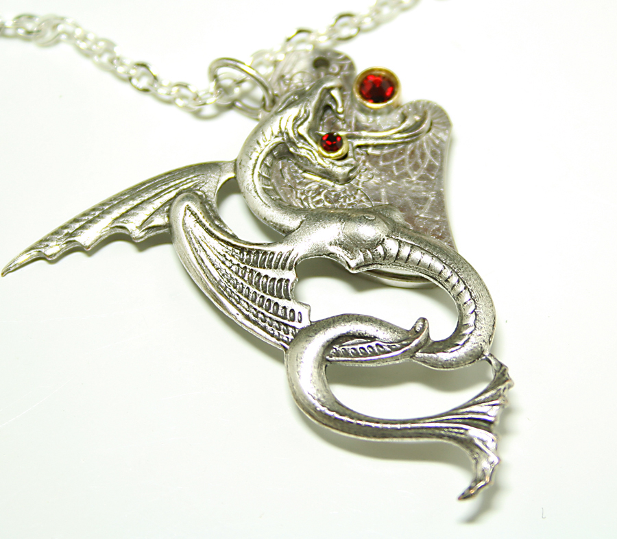 Echidna Dragon Silver Steampunk Necklace Red