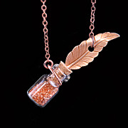Vintage style Ink Well Feather Quill Necklace