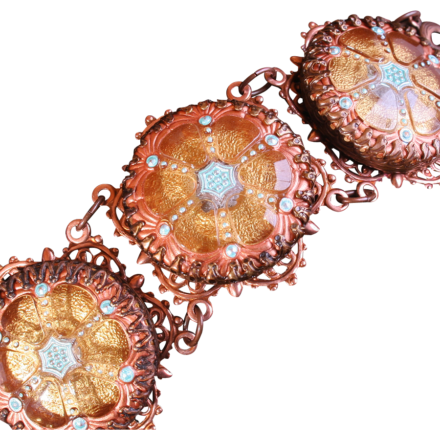 Victorian Style Bracelet Copper Filigree Bracelet Statement Bracelet Unique Turquoise