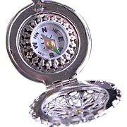 Silver Working Compass Filigree Locket Necklace Blue Bird
