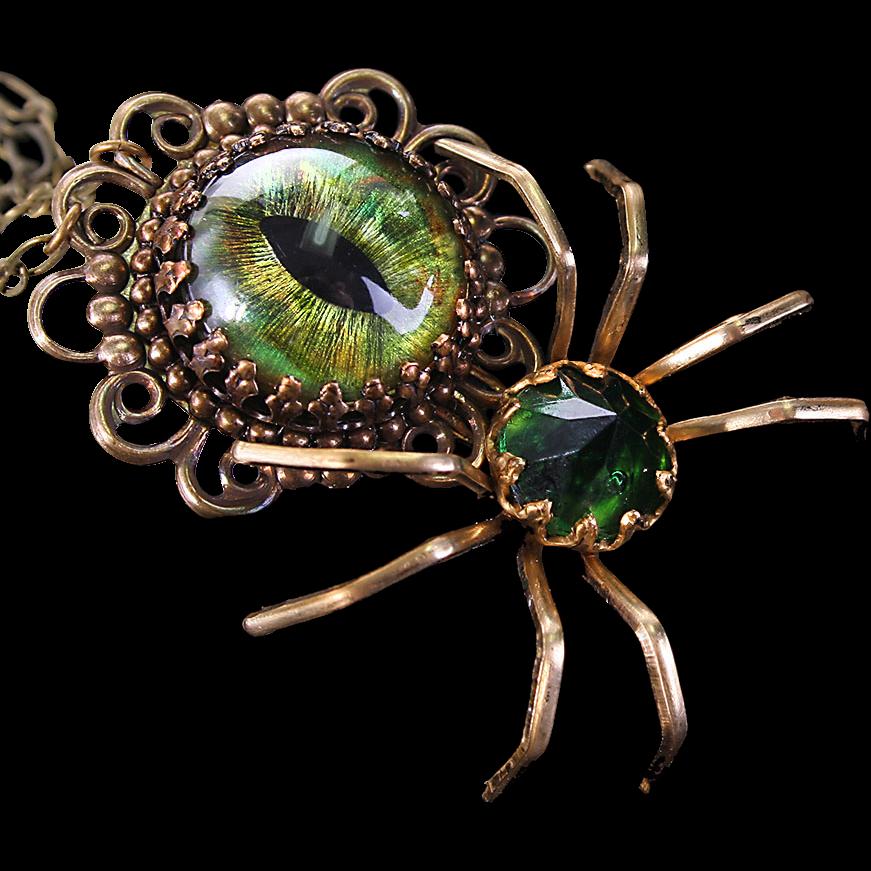 Steampunk Necklace Evil Eye Necklace Spider Necklace