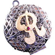 R Initial Necklace Steampunk Locket Steampunk Compass Necklace
