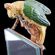 Rare 1900's German Cast Metal Parrot Statue Parrot Mirror Parrot Frame