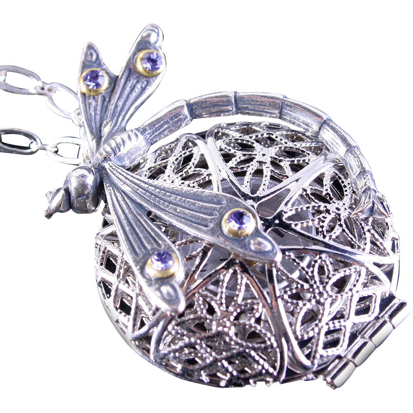 Dragonfly Necklace Steampunk Locket Necklace Steampunk Compass Necklace