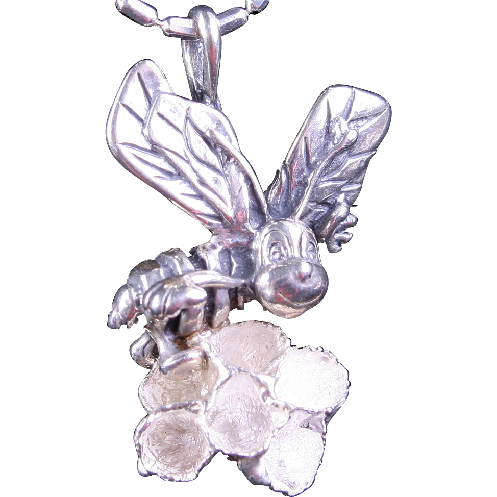 Honey Bee Necklace Sterling Silver Bee Necklace Honey Comb Necklace
