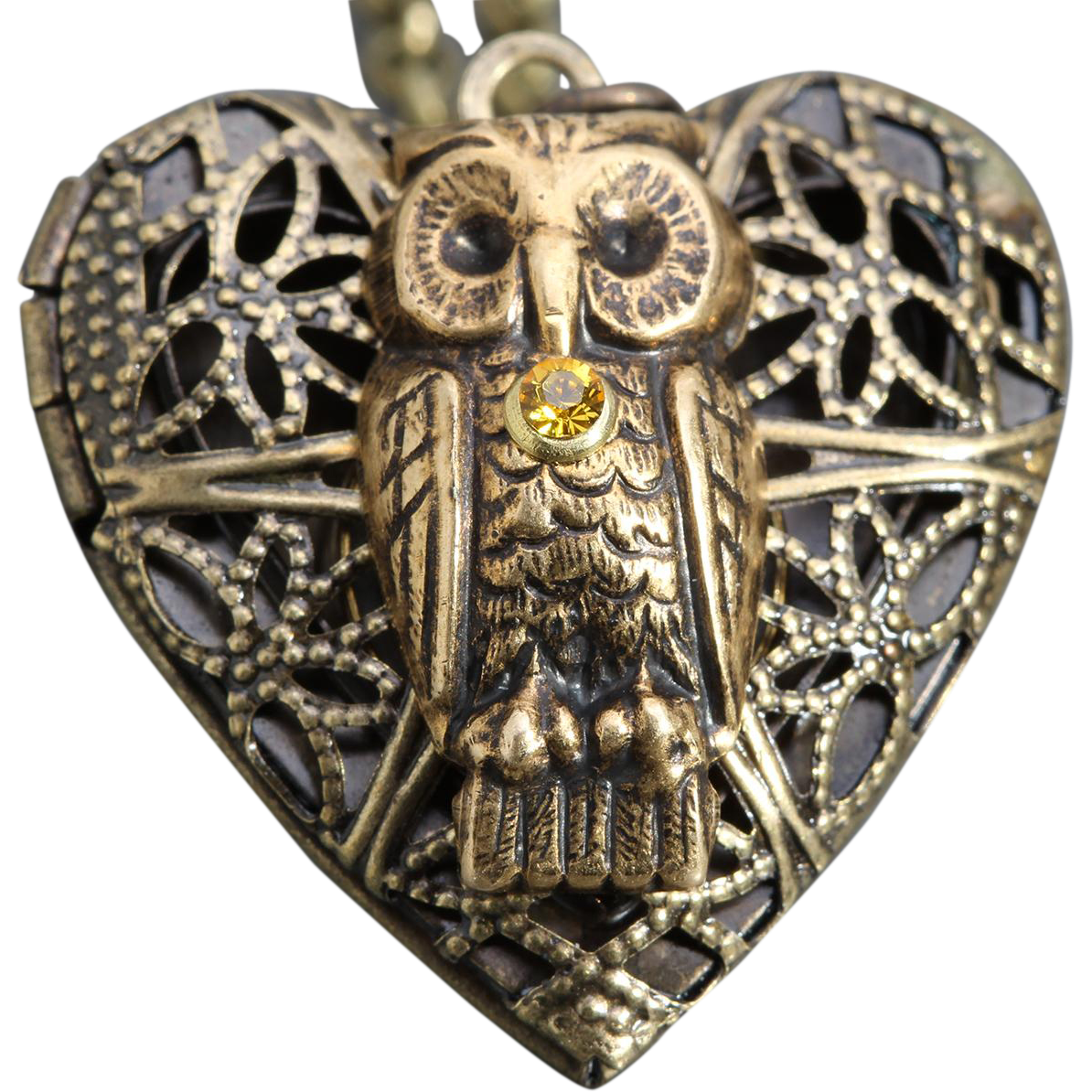 Steampunk Owl Locket Owl Necklace With Working Compass Inside