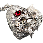 Steampunk Necklace Heart Necklace Fine Silver Steampunk Heart