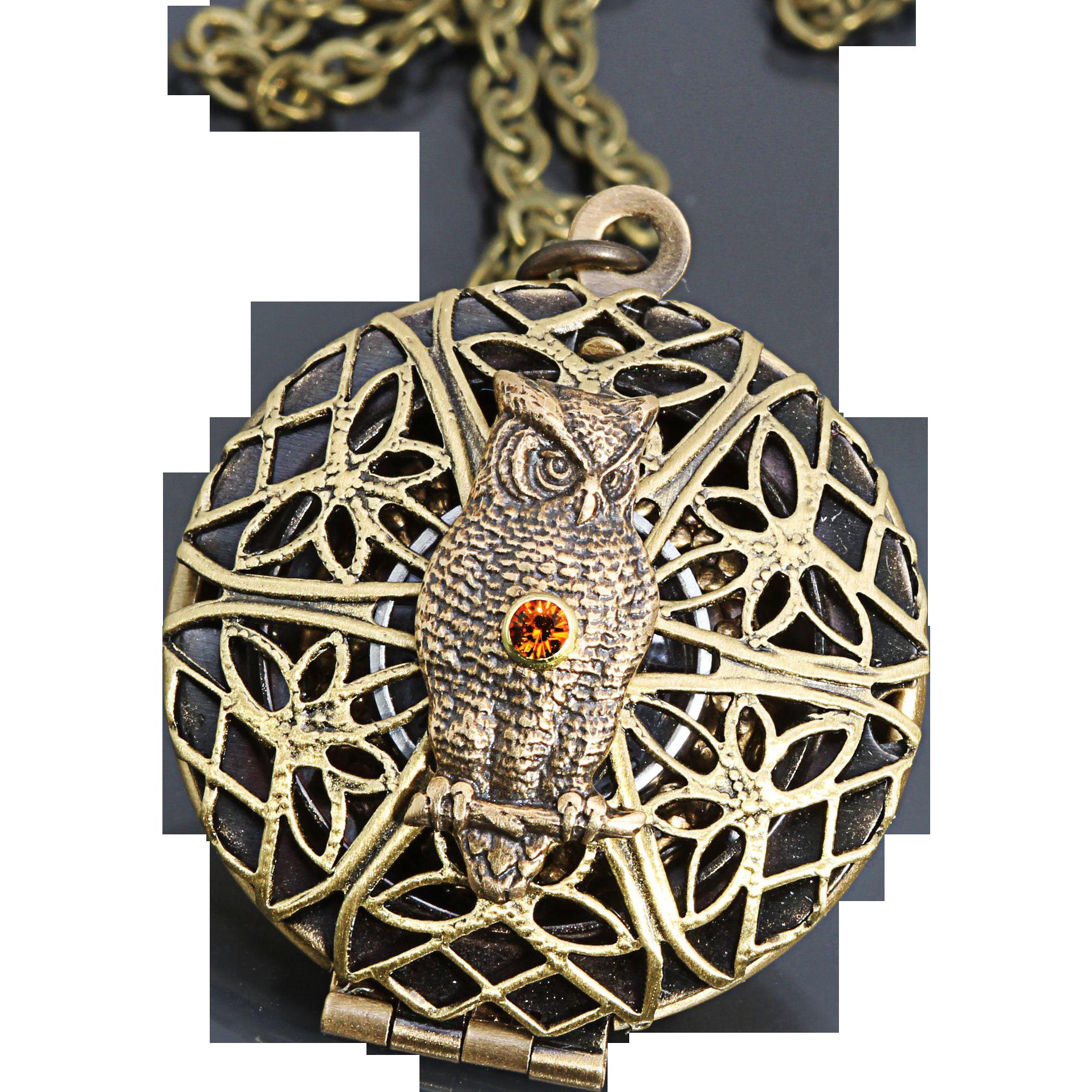 Compass Necklace Owl Locket Necklace Compass Locket Owl Pendant Necklace