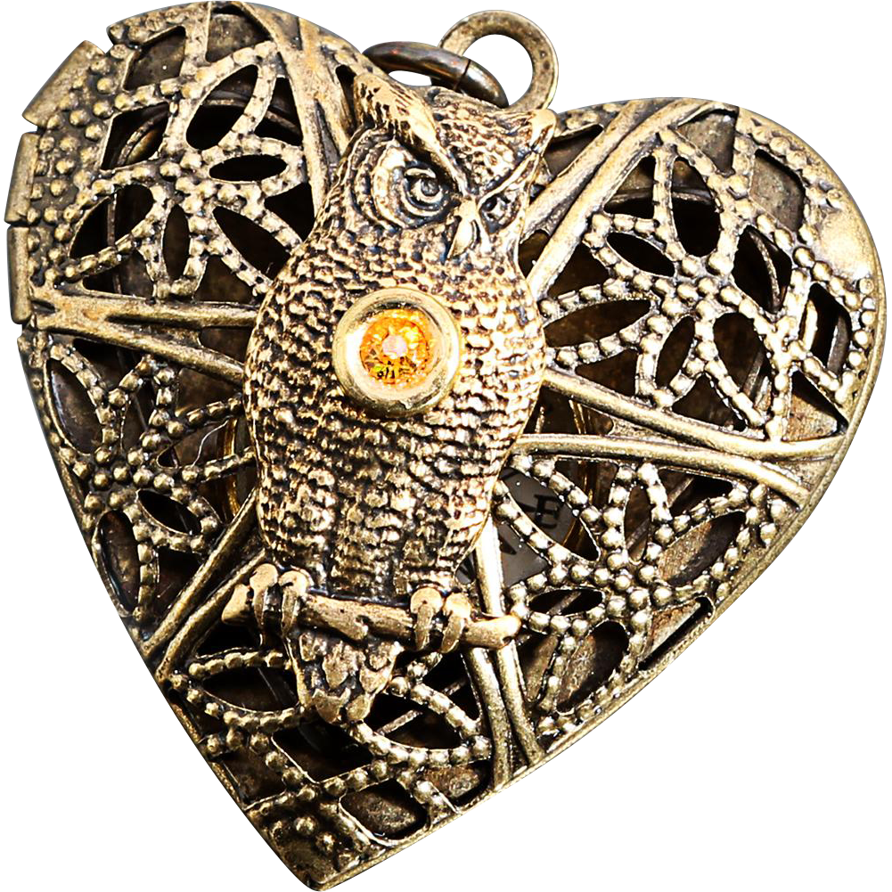Steampunk Heart Locket Owl Necklace Owl Locket Working
