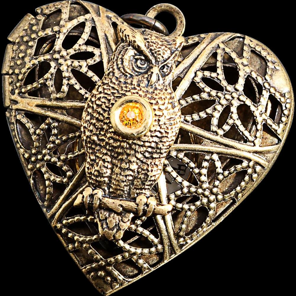 Steampunk Heart Locket Owl Necklace Owl Locket Working Compass Necklace