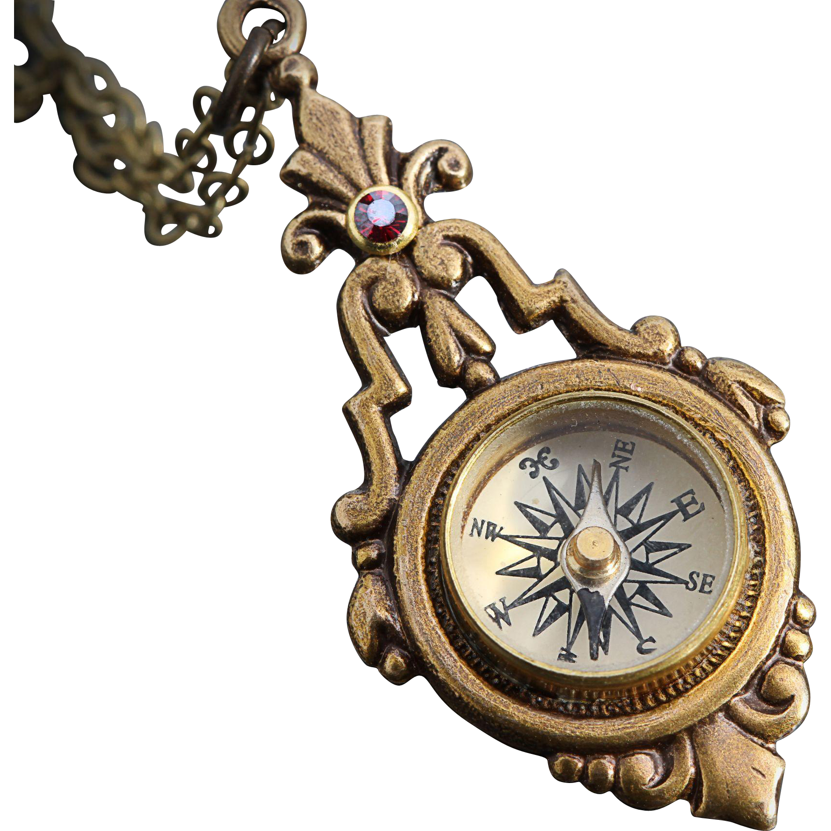 Working Compass Necklace Steampunk Necklace Nautical Compass