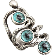 Silver Branch Ring Evil Eye Ring Dragon Eye Ring