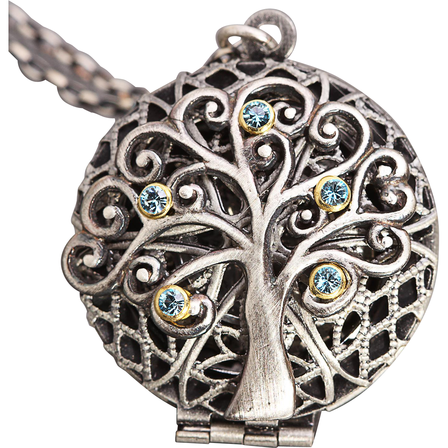 Sterling Silver Tree Of Life Filigree Locket Necklace Working Compass Locket