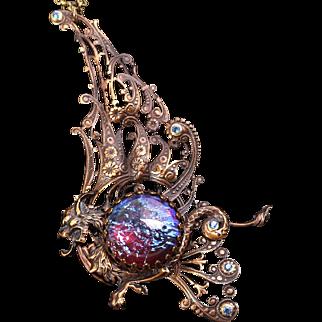 Dragons Breath Necklace Dragon Necklace Dragon Pendant Necklace