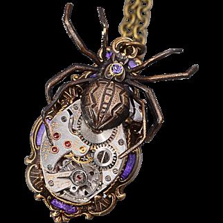 Spider Necklace Steampunk Necklace Amethyst Purple Spider Halloween