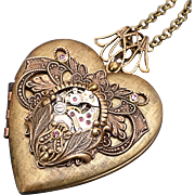 Steampunk Heart Necklace Steampunk Heart Locket Steampunk Wedding Picture Locket