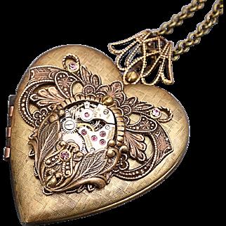 Steampunk Heart Necklace Steampunk Heart Locket Steampunk Wedding Picture Locket