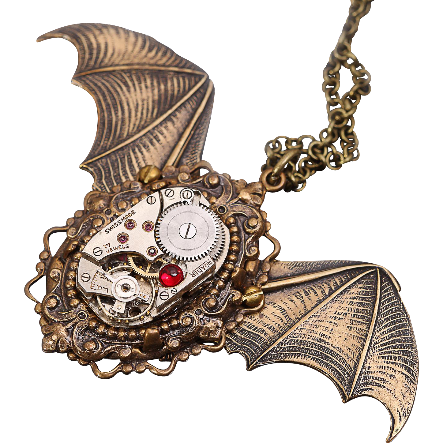 Bat Necklace Steampunk Necklace Bat Wings Gothic Halloween Unisex Necklace